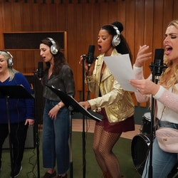Paula Pell as Gloria, Sara Bareilles as Dawn, Renée Elise Goldsberry as Wickie, Busy Philipps as Summer in 'Girls5eva' via Peacock's press site