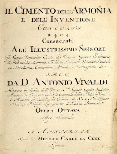 The title page of Vivaldi's Cimento dell'Armonia e dell'Invenzione