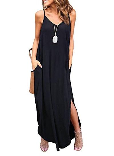 HUSKARY Summer Casual Sleeveless Maxi Dress With Pockets