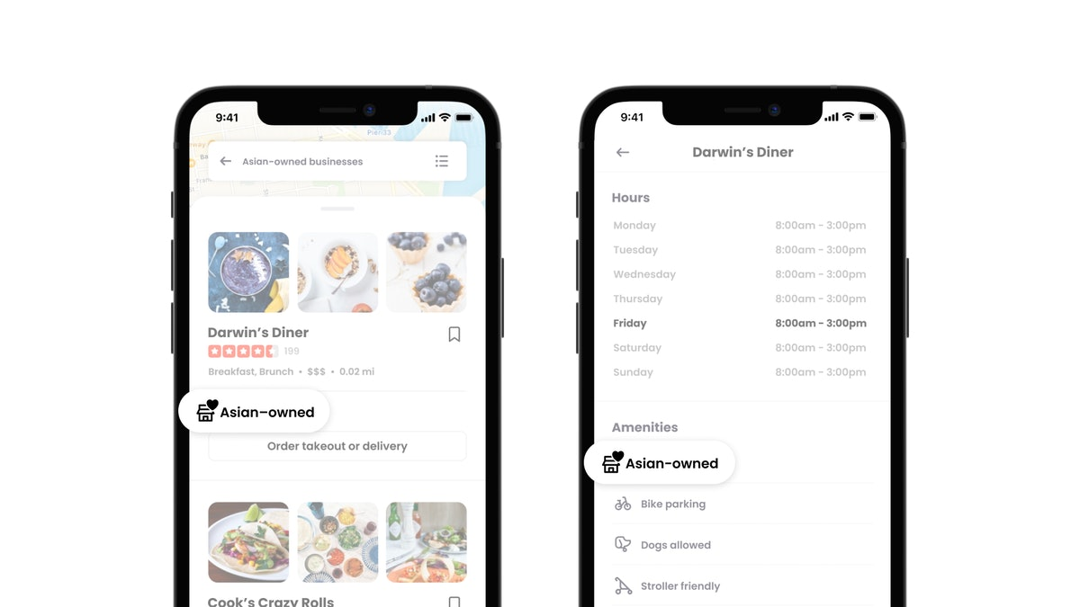 You can find Asian-owned food businesses by searching the tag on Yelp.