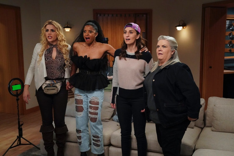 Busy Philipps as Summer, Renée Elise Goldsberry as Wickie, Sara Bareilles as Dawn, Paula Pell as Gloria in 'Girls5eva' via Peacock's press site