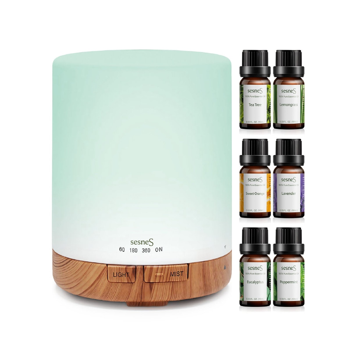 150ml Essential Oil Diffuser with Top 6 Pure Aromatherapy Essential Oils Bundle Cool Mist Humidifier for Home and Office
