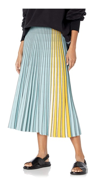 Knit Pleated Skirt in Sky Blue