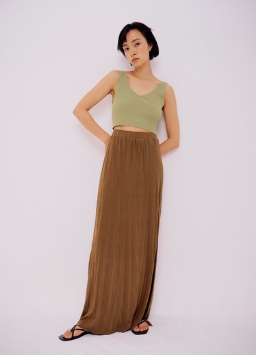 Ribbed Knit Crop Top in Light Green