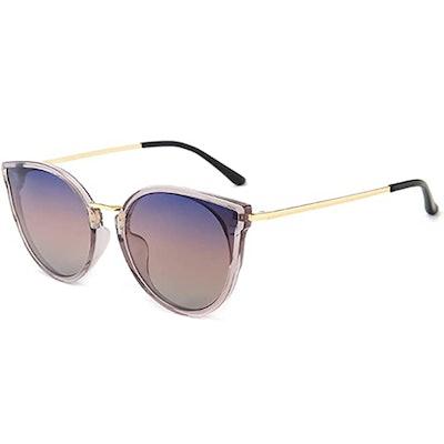 SUNGAIT Oversized Vintage Polarized Cat Eye Sunglasses