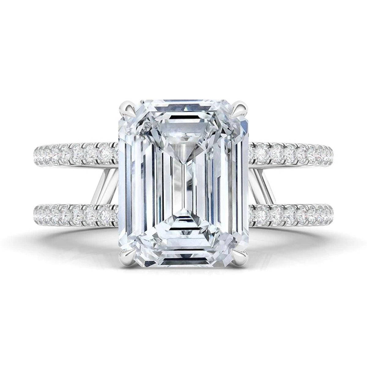 Emerald Cut Double Pavé Diamond Ring