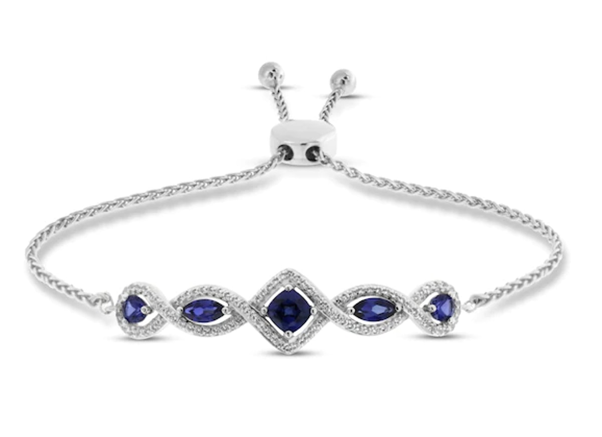 Lab-Created Sapphire Bolo Bracelet