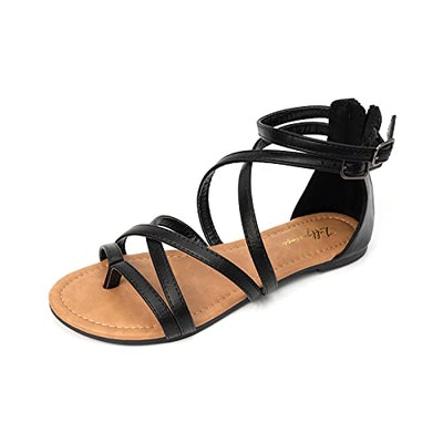 LUFFYMOMO Gladiator Strap Sandals