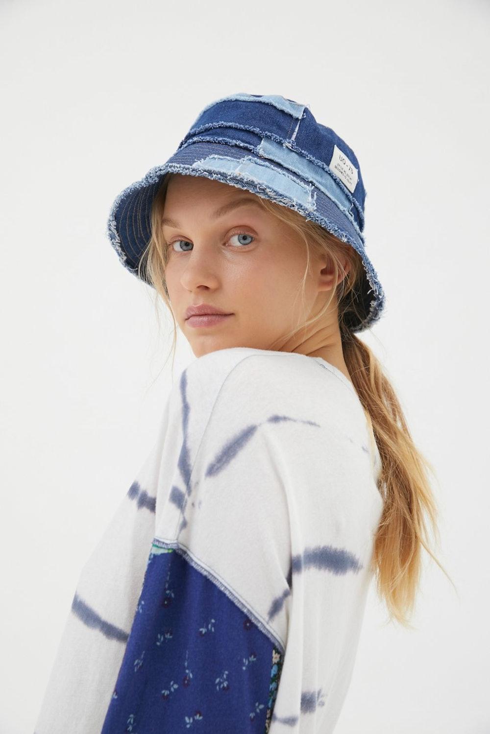 Frayed Patchwork Bucket Hat