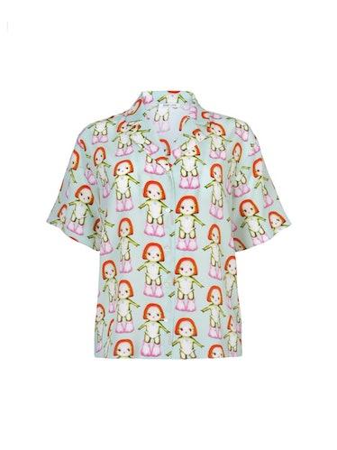 Green Silk Margot Short Sleeve Shirt