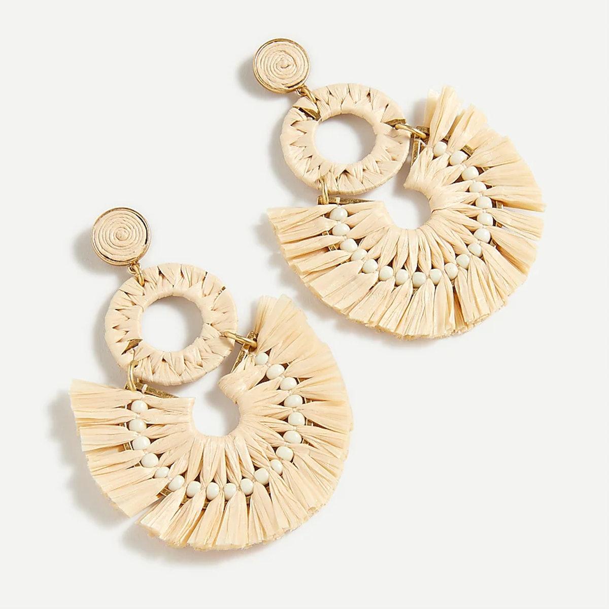 Raffia Fan Statement Earrings