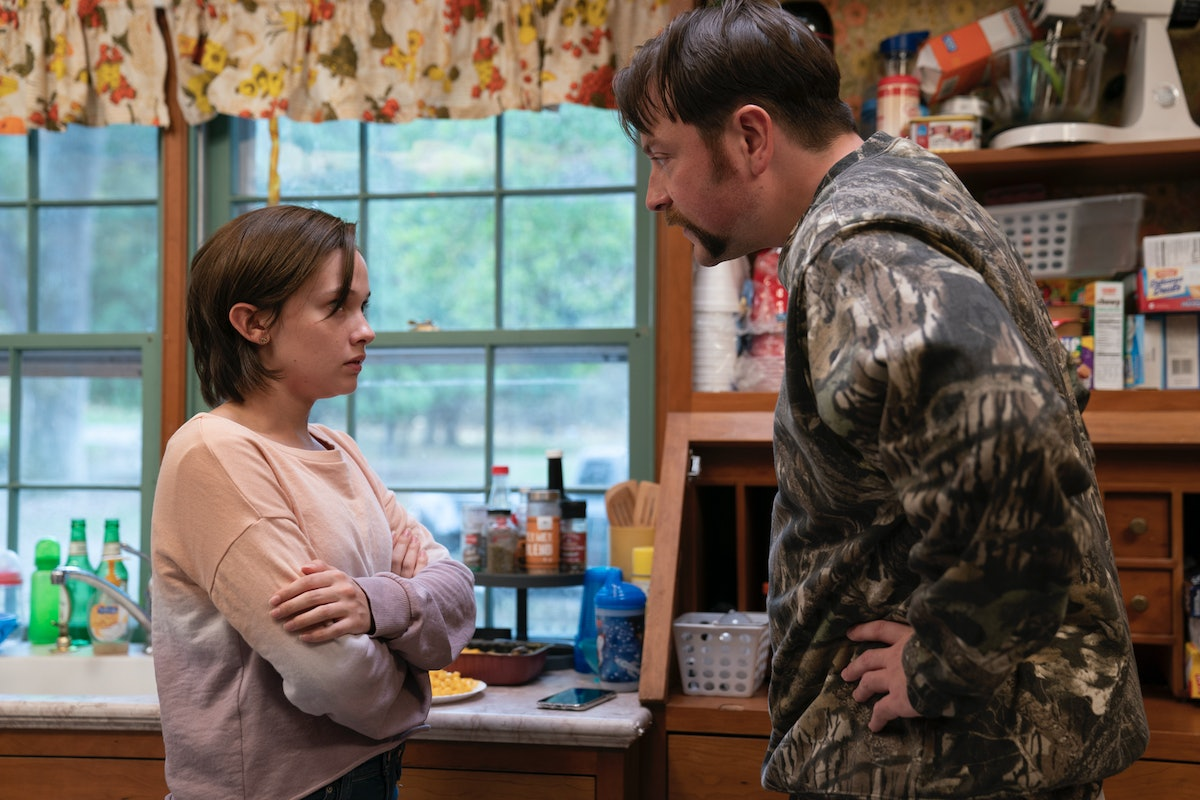 Cailee Spaeny as Erin McMenamin and Patrick Murney as Kenny McMenamin in Mare of Easttown