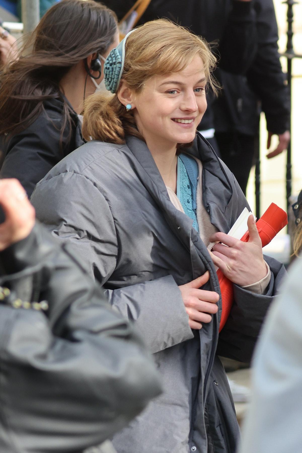 Emma Corrin on the set of My Policeman