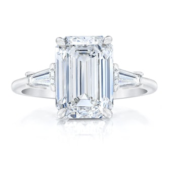 Emerald Cut Tapered Baguette Side Stone Engagement Ring