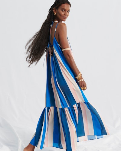 Liya Kebede wears a dress from the Lemlem x H&M collaboration.