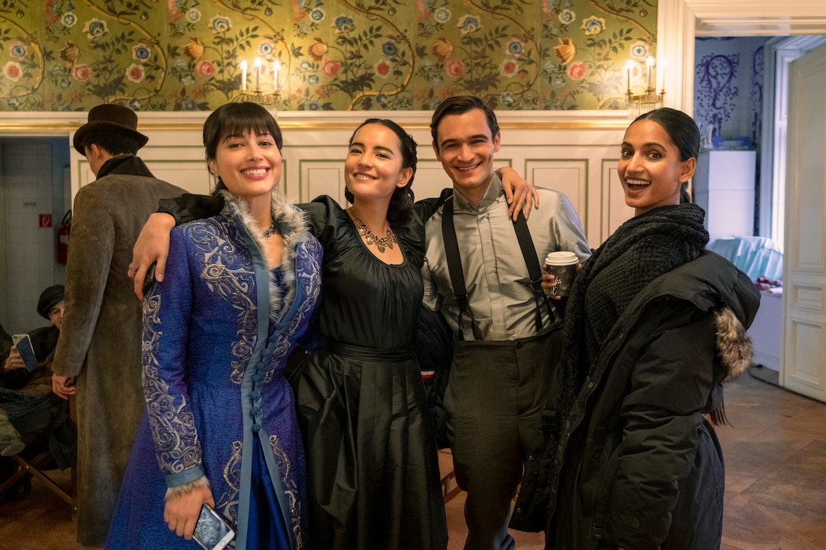 Sujaya Dasgupta as Zoya, Jessie Mei Li as Alina, Julian Kostov as Fedyor and Amita Suman as Inej behind the scenes of Shadow and Bone.
