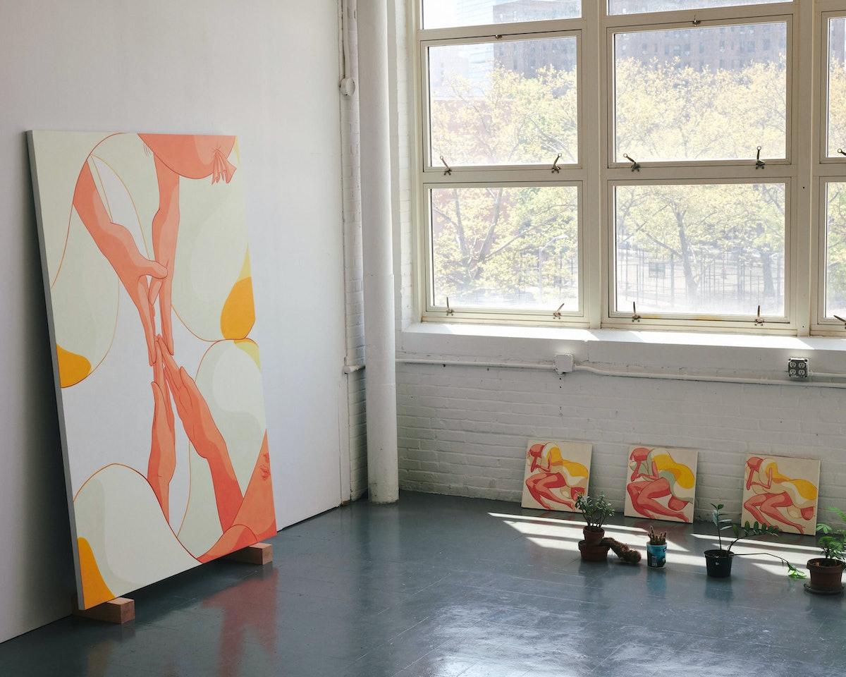 Paintings inside Ivy Haldeman's studio.
