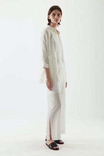 Cotton Wide-Leg Sheer Trousers