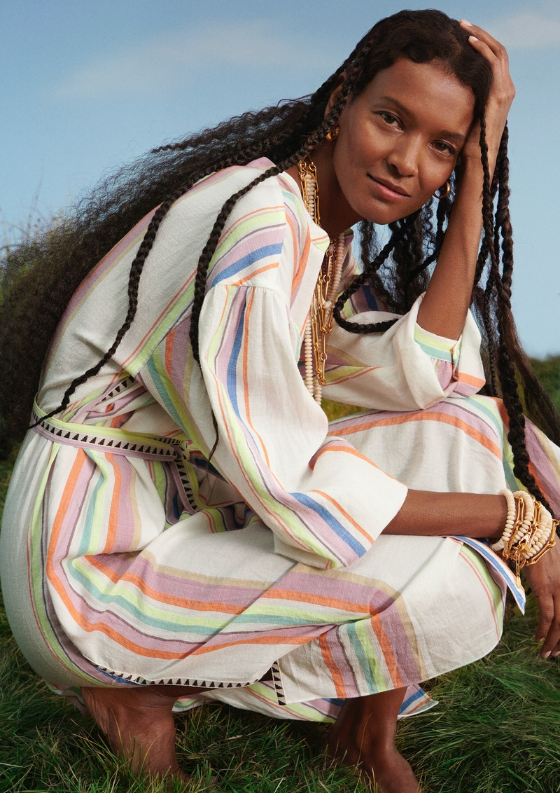 Liya Kebede wears items from the lemlem x H&M collaboration.