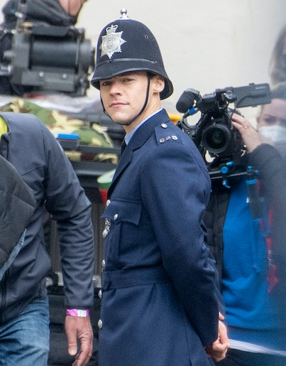 Harry Styles is seen on the filmset for 'My Policeman' on May 04, 2021 in Brighton, England.