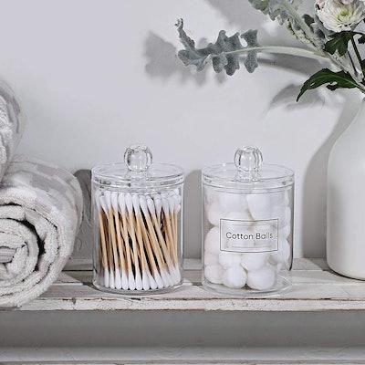 Aozita Apothecary Jar for Bathroom (2-Pack)