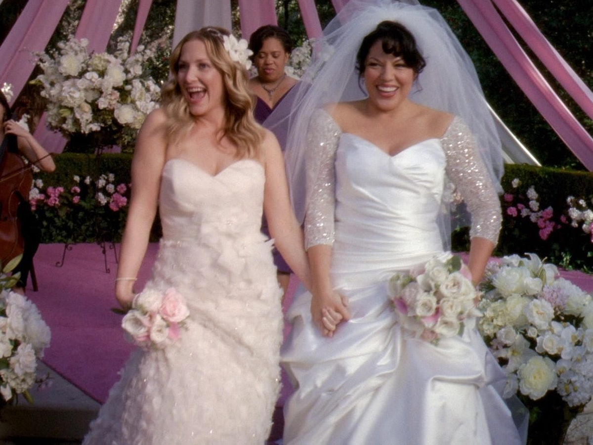 Jessica Capshaw as Arizona Robbins and Sara Ramirez as Callie Torres in Grey's Anatomy.