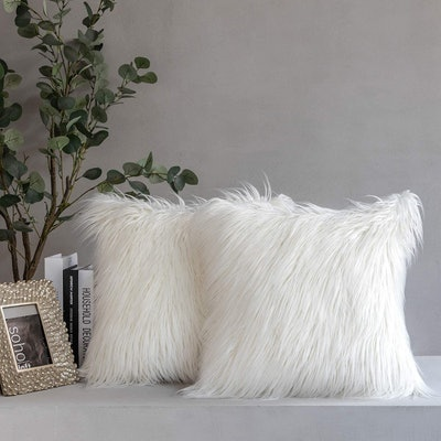 Phantoscope Faux Fur Throw Pillow Covers (Pack of 2)
