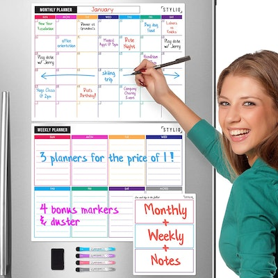STYLIO Magnetic White Board Calendars (Set of 3)
