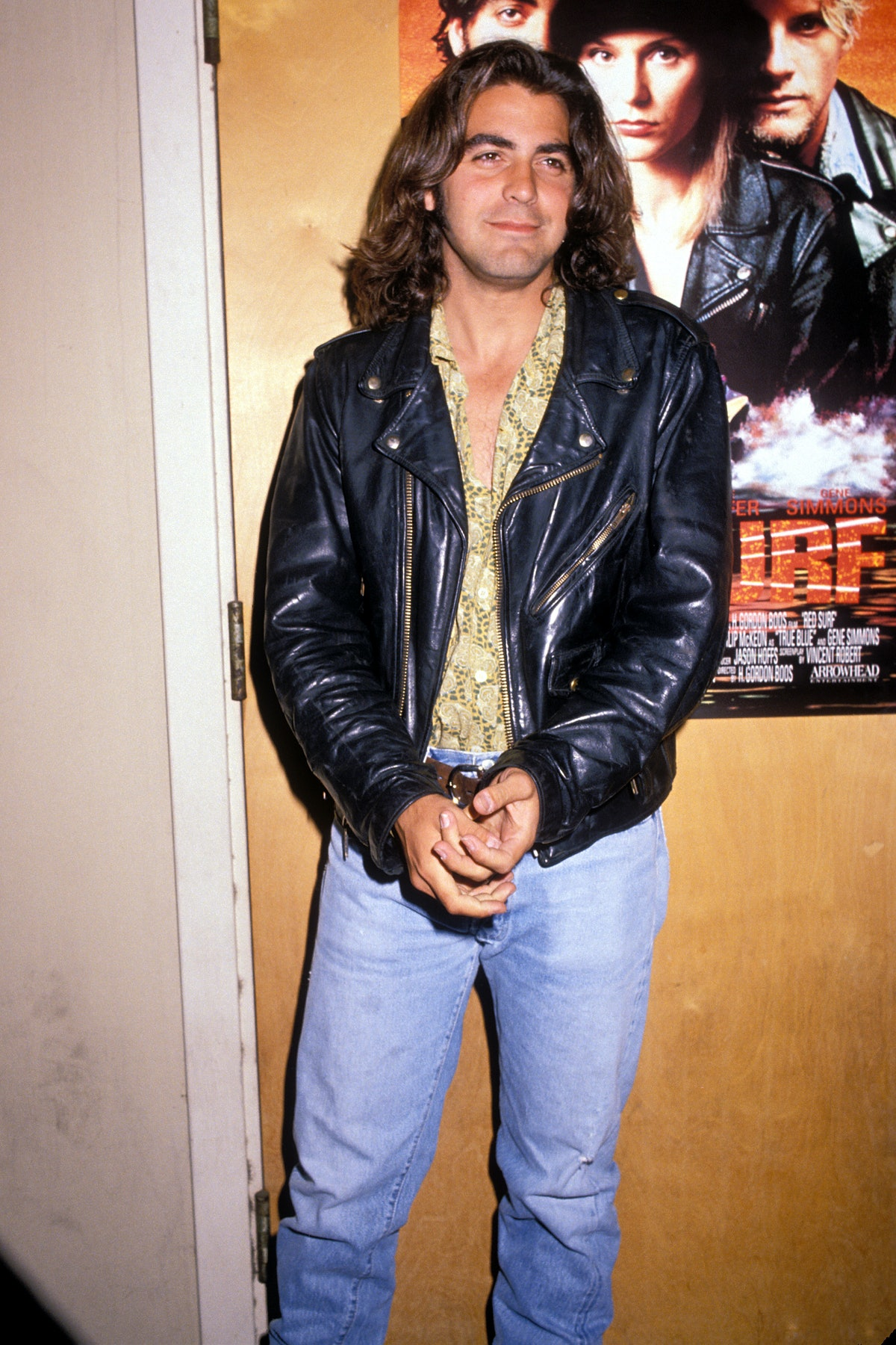 George Clooney with very long hair