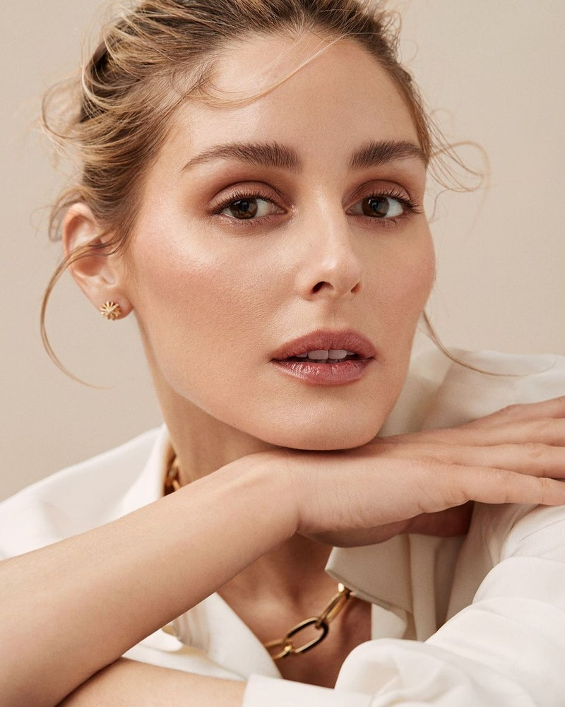 portrait of Olivia Palermo wearing her beauty line