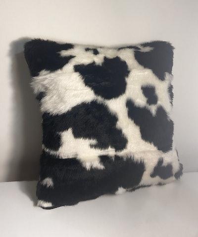 """Handmade 16"""" square faux fur cow cushion"""