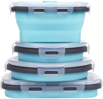 Collapsible Silicone Food Storage Containers (4-Pack)