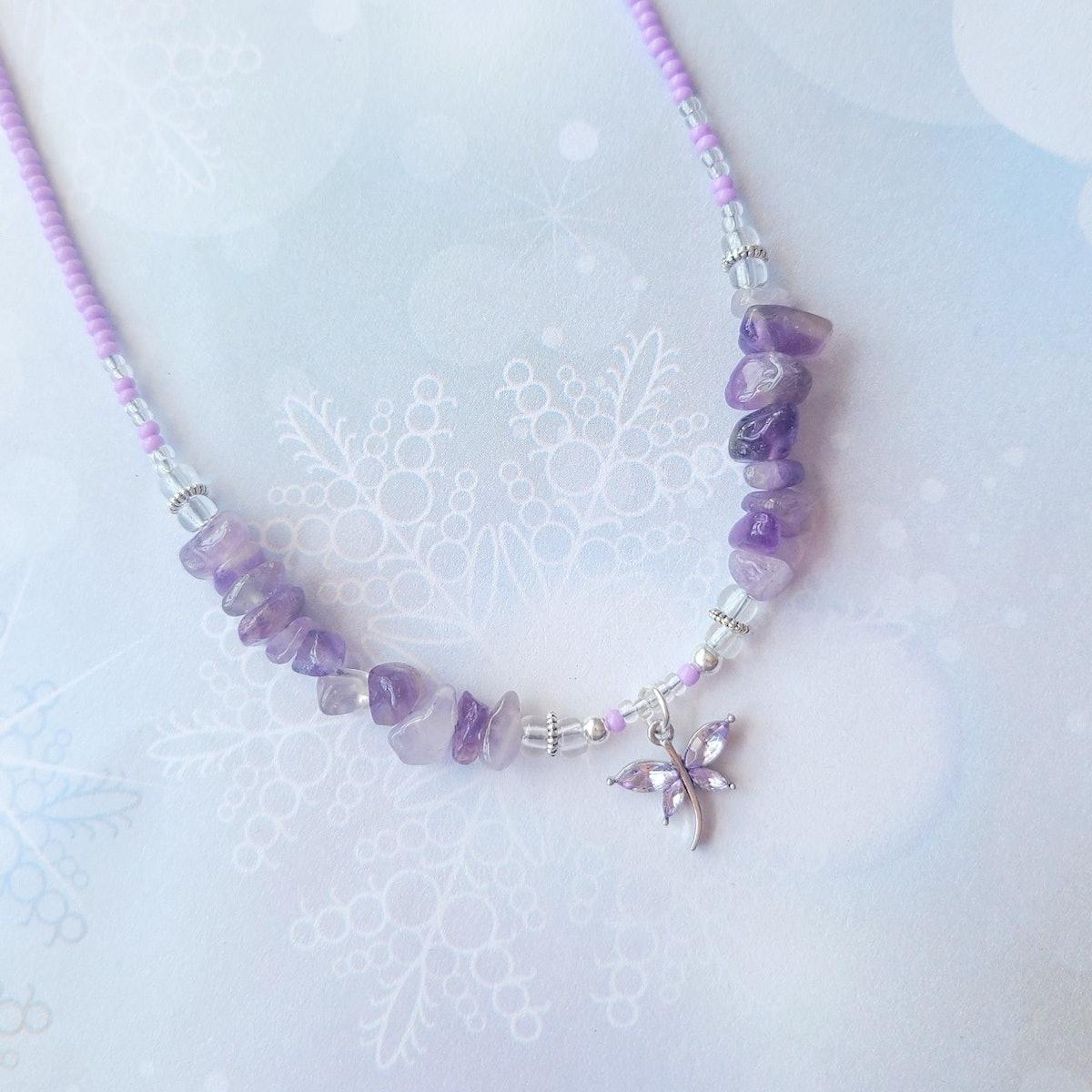 Ceruliestudio Violet Dragonfly Stone Necklace