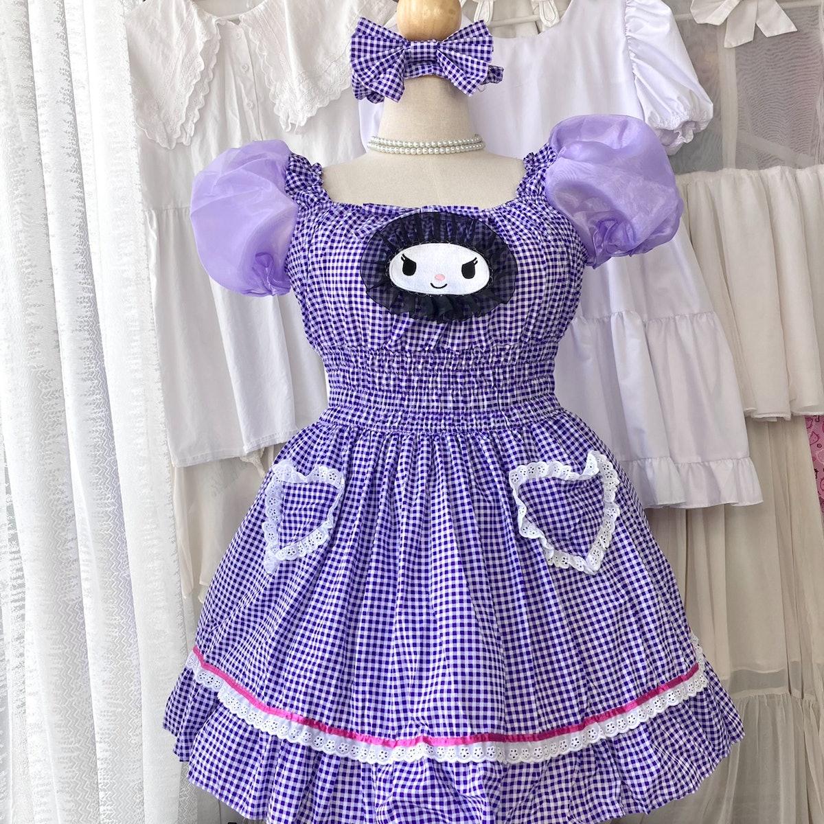 Petchgamploy Purple Kuromi Gingham Shirring Dress
