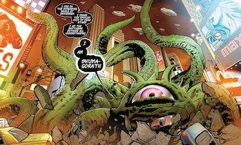 Shuma-Gorath making a speech in the Marvel comics