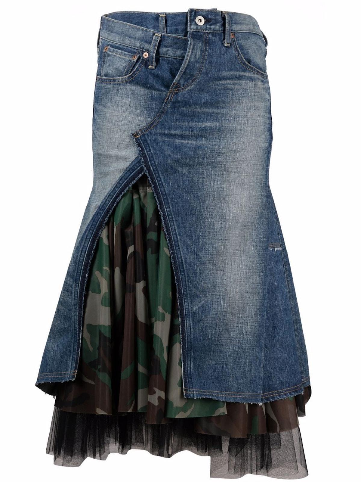 Asymmetrical Tulle-Layered Denim Skirt