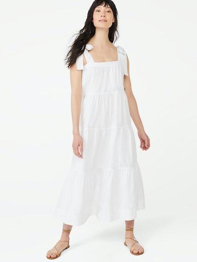 Tie Shoulder Tiered Maxi Dress