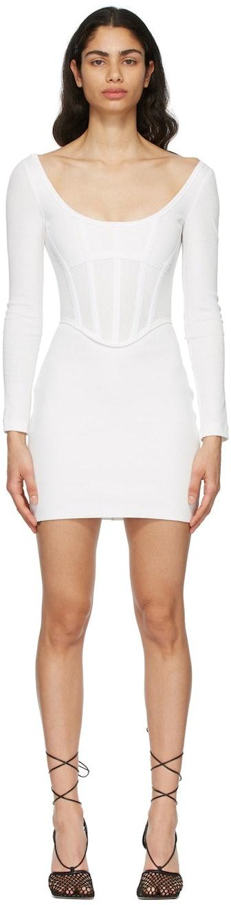 White Rib Corset Mini Dress