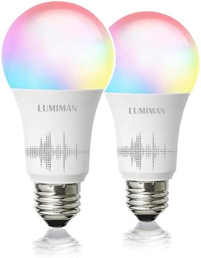 LUMIMAN Smart WiFi LED Light Bulb (2-Pack)