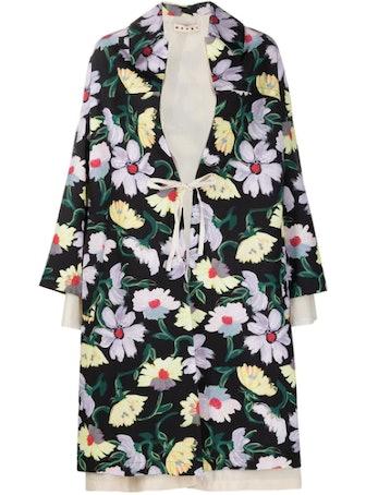 Floral-Print Oversized Coat