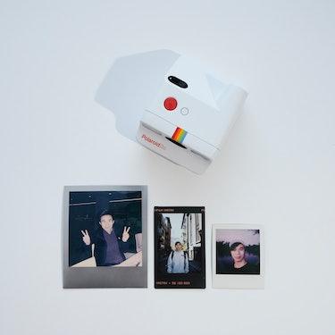 Polaroid Go review: Prints size comparison:  standard 600 size Polaroid, Fujifilm Instax Mini, and P...