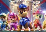 L-R: Zuma (voiced by Shayle Simons), Rocky (voiced by Callum Shoniker), Skye (voiced by Lilly Bartlam),  Chase (voiced by Iain Armitage), Marshall (voiced by Kingsley Marshall), and Rubble (voiced by Keegan Hedley)  in PAW PATROL: THE MOVIE from Paramount Pictures.
