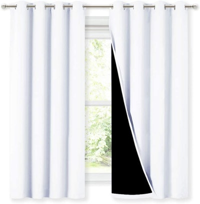 NICETOWN White 100% Blackout Lined Curtains