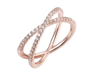 PAVOI 14K Gold Plated Criss Cross Ring