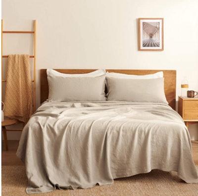 Bedsure Linen Sheets, 4-Piece Set