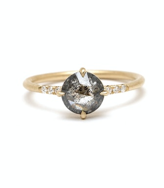 Rose Cut Salt And Pepper Diamond Engagement Ring