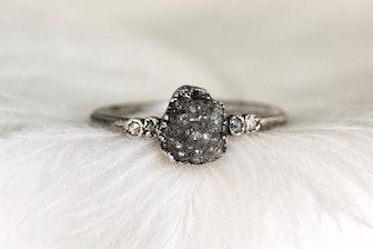 Raw Rough Gray Diamond Alternative Rustic Engagement Ring.