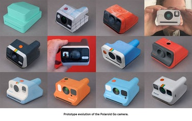 Prototypes of the Polaroid Go before its final form.