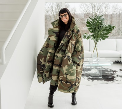 Norma Kamali sleeping bag coat outfit