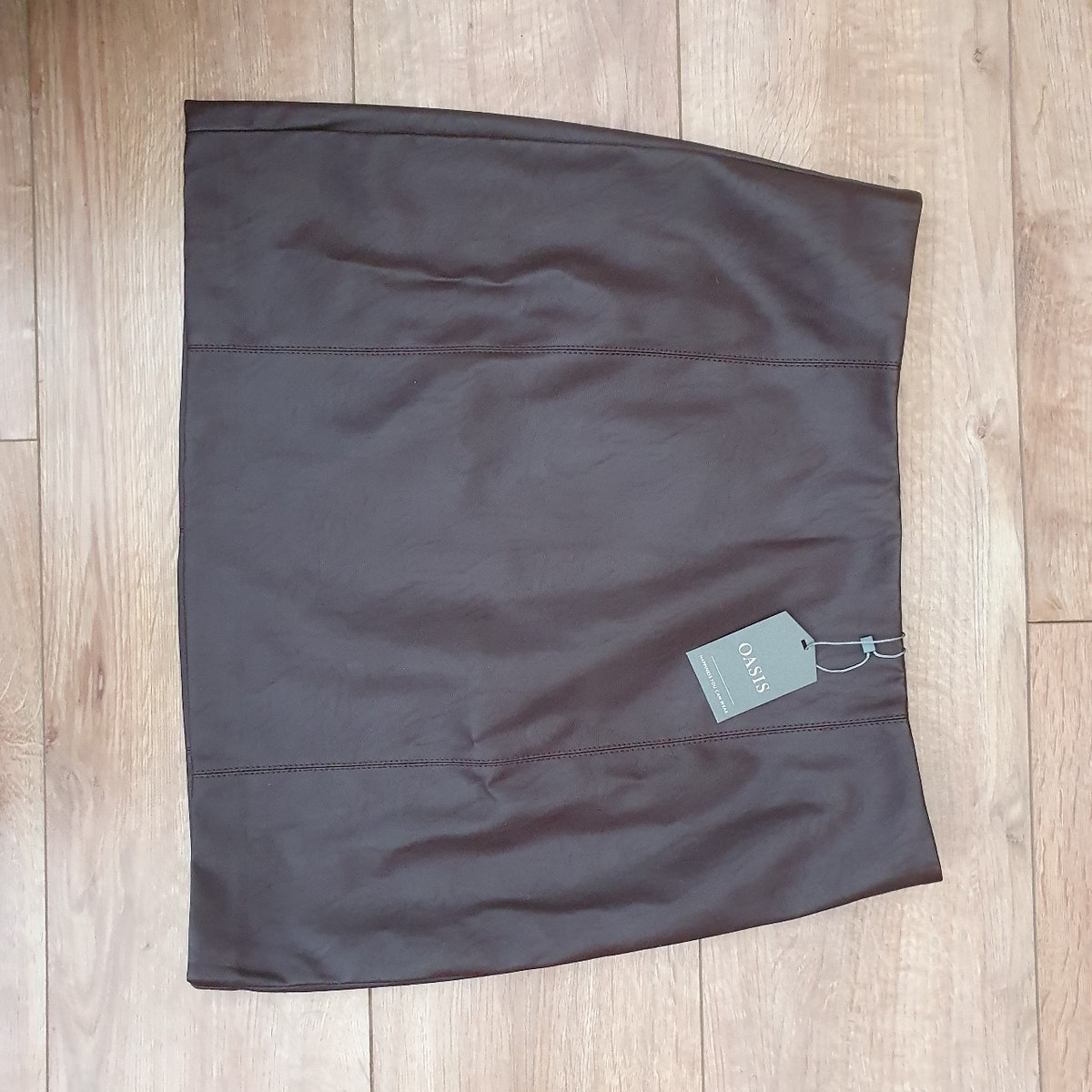 Vsquaredapparel Oasis Timeless Brown Fitted Faux Leather Skirt